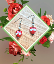 Red Lampwork Glass Heart Pearl Earrings June Birthstone Mothers Day Gift... - $24.99