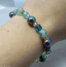 VTG Silver Tone Blue Cream & Purple Metallic Speckled Glass Beaded Bracelet - $11.88