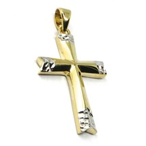 18K YELLOW WHITE GOLD CROSS, BICOLOR SMOOTH, HAMMERED, 2.4cm 0.94 inches image 2