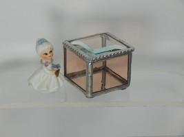 RING BEARER BOX A DELICATE ROSE ARTIQUE BEVELED GLASS & CLEAR BEVELED GL... - $23.71