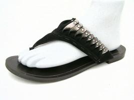 Nine West Vintage America Women's 7½M Flip Flop Sandals Black Leather Excellent - $21.53