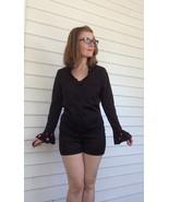 Mod Ruffle Romper 60s Short Hotpants Mr Beau XS S Vintage Black - $53.00