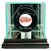 Hockey Puck Glass Display Case with Black Base - $29.99
