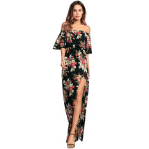 AOVEI Black Floral Print Split Off Shoulder Beach Night Out Long Maxi Dress - $29.99
