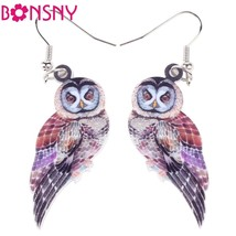 Bonsny Long Drop Brand Bird Parrot Earrings Acrylic Owl 2016 Jewelry For... - $9.19
