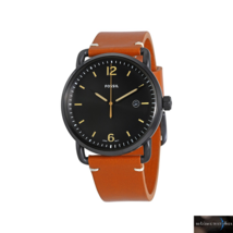Fossil Commuter Gents Brown Leather Strap Black Dial FS5276 Mens Watch RRP £109 - $67.36