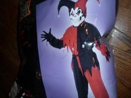 boys EVIL JESTER costume,NWT,sz12-14 black red shirt,pants,sash,hood,mas... - $18.39