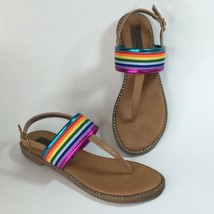 STEVE MADDEN MULTI Color Rainbow Girls SIZE 2 THONG SANDAL Rhinestones - $13.98