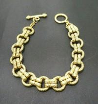Vintage Oscar De La Renta Gold Tone Braided Textured Links Bracelet - $52.36
