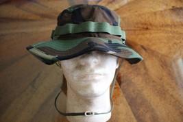 Us Army Gi Woodland Bdu Ripstop Camo Combat Floppy Hat Boonie Cap Size 7 1/4 - $24.74