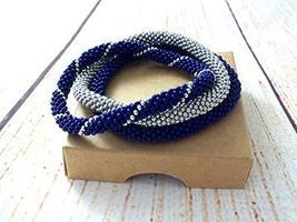 Set Of Rolling Beaded Bracelets Navy Blue Silver Bangle Wristband for Ma... - $17.00+