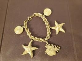Vintage Trifari Gold Tone Nautical Starfish Bracelet - $89.95
