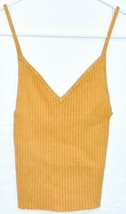 Kendall & Kylie Women's Mustard Yellow Ribbed Knit V-Neck Tank Top Size XS