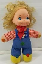 N) Vintage 1974 Mattel Love Notes Musical Squeeze Doll Plaid Farm Girl  - $19.79