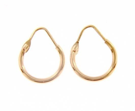 18K ROSE GOLD ROUND CIRCLE EARRINGS DIAMETER 10 MM WIDTH 1.7 MM, MADE IN ITALY