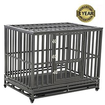 LUCKUP Heavy Duty Dog Cage Strong Metal Kennel and Crate for Medium and Large Do