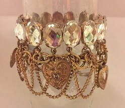 Vintage brass filigree heart charms and chains stretchy faceted glass ch... - $19.00