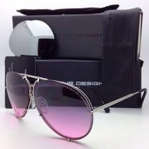 PORSCHE DESIGN Titanium Aviator Sunglasses P'8478 M 60-10 Silver w/ 2 Lens Sets
