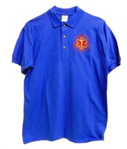 EMT S/S Polo Shirt L Emergency Medical Technician Star of Life Royal Blue Gold - $26.16
