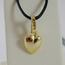 18K YELLOW GOLD MINI ROUNDED HEART PENDANT CHARM, 11 MM, 0.43 INCH MADE IN ITALY image 3