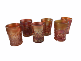 (6) Antique Fenton Marigold Waterlily & Cattail Carnival Glass Tumblers - $39.60