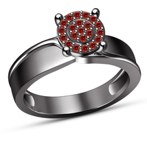 Round Cut Red Garnet Womens Engagement Ring Solid 14K Black Gold Over 92... - $73.99