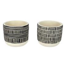 "Melrose Set of 2 Linear Designed Cream and Black Round Pots 4.75"" - $22.29 CAD"