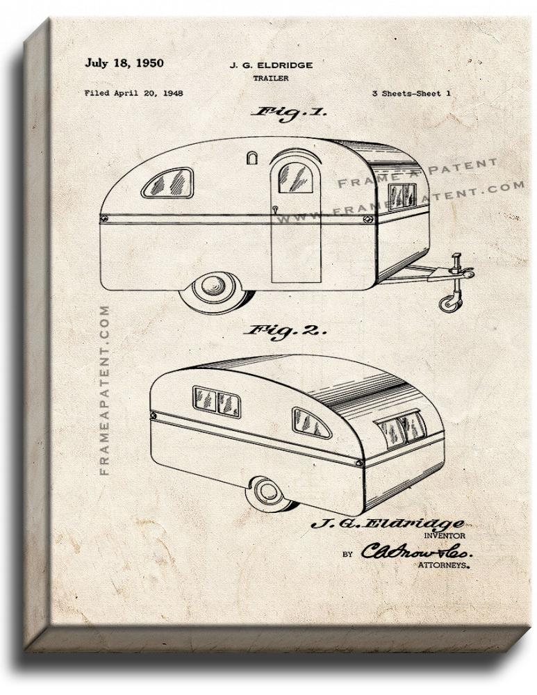 Primary image for Camper Trailer Patent Print Old Look on Canvas
