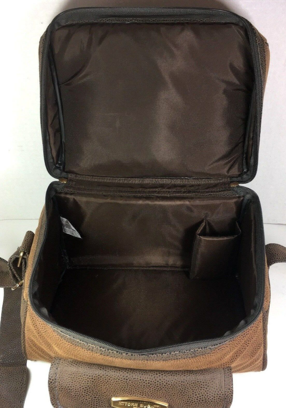 Ettore Bugatti Vintage Brown Faux Leather Travel Carry On Bag