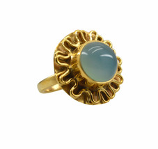 exquisite Blue Chalcedony Gold Plated Blue Ring Natural supply US gift - $17.99