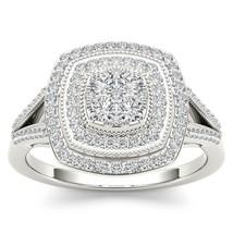 IGI Certified 10K White Gold 0.50 Ct Natual Diamond Cluster Halo Engagem... - $770.20 CAD