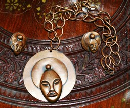 Set of Copper Vintage Jewelry Necklace and Earrings Buddha Head - $24.65