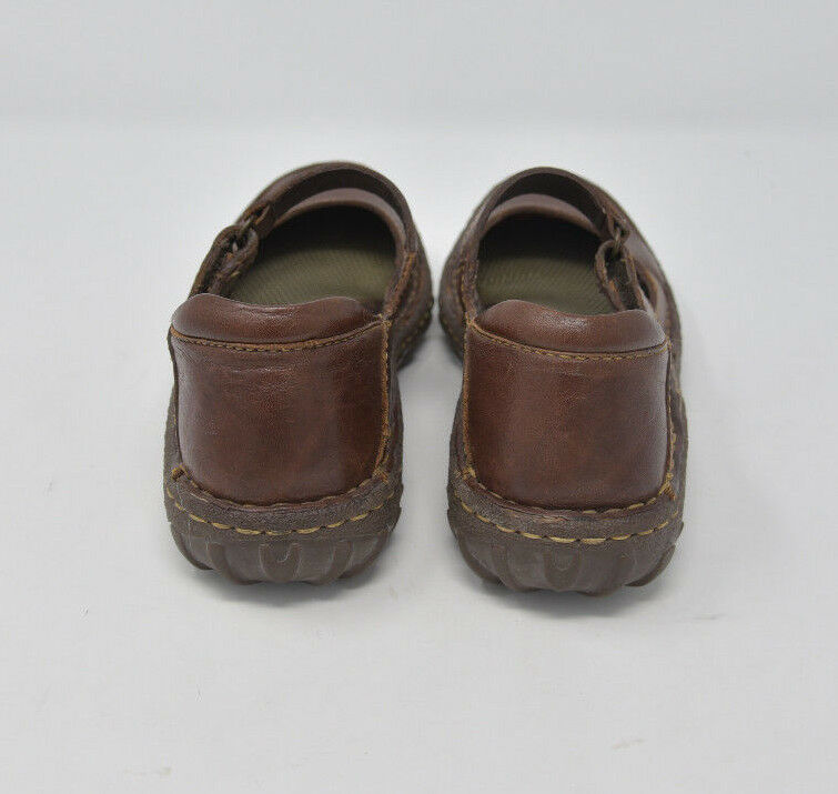 Born Women's Sz 6M EU 36.5 Brown Leather Slip On Strap Mary Jane Flats
