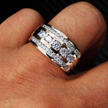 Wedding Men's Band Anniversary Ring Round Cut Diamond White Gold Over 92... - $92.98
