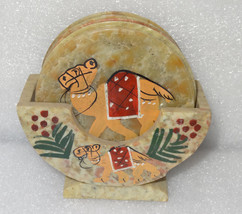Marble Tea Coaster Set Camel Handmade Beautiful Hand painted Home Decor Gifts - $44.28