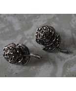 Vintage Marcasite Jewelry Rose Earrings - $15.99