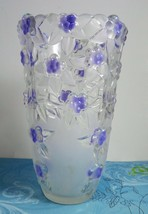 Mikasa Lavender Fields Clear & Frosted Crystal Vase 9.5 In Made In Germa... - $39.48