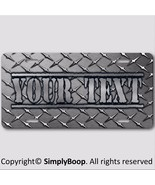 Your Text Name Personalized Vanity License Plate Black DIAMOND PLATE Loo... - $14.84