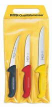 F. Dick (8255100) Set of 3 Ergogrip Knives, 3 colors in pouch - $50.96