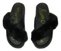Sam Edelman Sandals Bianca Slide Black Faux Fur Fabric Platform Womens S... - $23.74