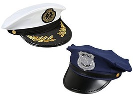Juvale Costume Headwear - Police, Sea Captain Hats, Pretend Play - 2 Pc Set - $12.33
