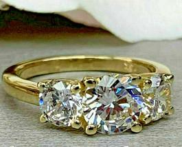 Three Stone Engagement Ring 2.50Ct Round Cut Diamond 14K Yellow Gold Fin... - $84.64