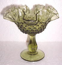 Rare Fenton Green Hobnail Ruffled Collectible Glass Art Display Compote - $84.99