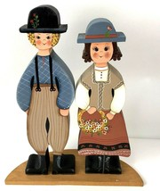 Folk Art Handmade Wood Vtg Painted Figurine Man Woman Floral Flowers Cou... - $39.59