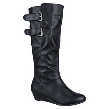 NEW Women's knee high Mid Calf Leather Platform Motorcycle riding Snow B... - £20.01 GBP