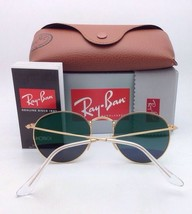 Polarized RAY-BAN Sunglasses ROUND METAL RB 3447 112/58 50-21 Matte Gold w/Green