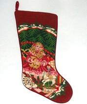 Sferra Needlepoint Pink Doll with Bear Christmas Stocking Wool Handmade New - $72.90