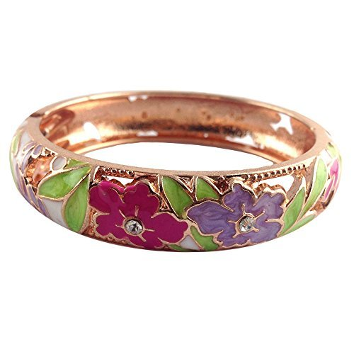 UJOY Colorful Cloisonne Handcraft Bracelet Bangle Rhinestone Spring Hinge Vintag