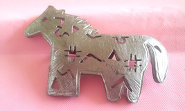 Vintage Signed ULTRA CRAFT Southwestern Horse with Cut-outs Pewter Pin B... - $5.70