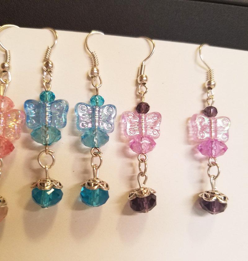 3 pr butterfly bead drop earrings lot dangles wholesale handmade jewelry
